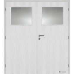 Dvojkrídlové fóliované dvere Masonite - Sklo 1/3 - Borovica bielená