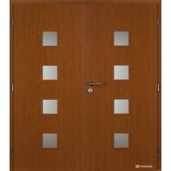 Dvojkrídlové fóliované dvere Masonite - Quadra sklo - Jelša
