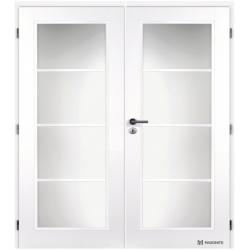 Dvojkrídlové dvere MASONITE - DAKOTA Sklo 4/4 - Biely rámček