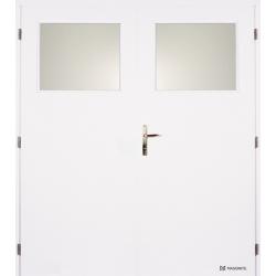 Dvojkrídlové biele dvere Masonite - Sklo 1/3 - RAL 9003
