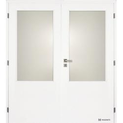 Dvojkrídlové biele dvere Masonite - Sklo 2/3 - RAL 9003