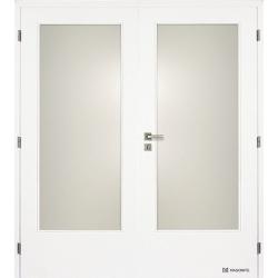 Dvojkrídlové biele dvere Masonite - Sklo 3/4 - RAL 9003