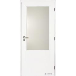 Jednokrídlové biele dvere Masonite - Sklo 2/3 - RAL 9003
