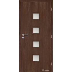 Jednokrídlové fóliované dvere Masonite - Quadra sklo - Fólia Orech rustikálny